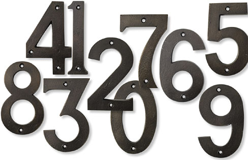 carriage house numbers in bronze