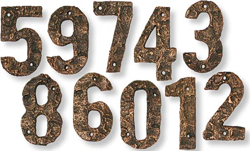Rustic Bark Cast Bronze House Numbers
